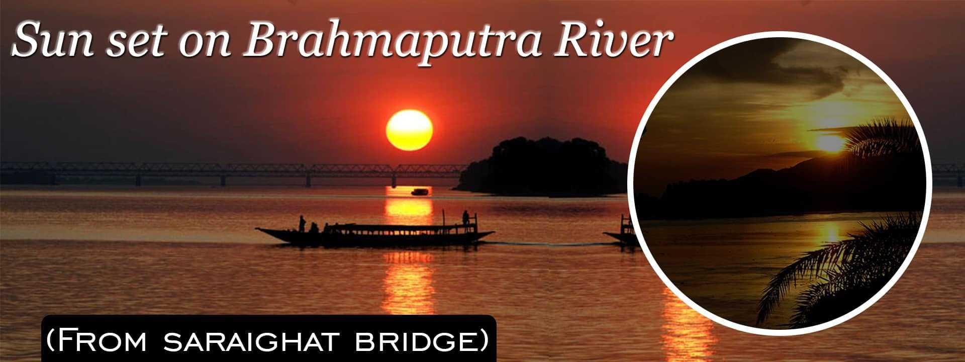 Sun set on Brahmaputra River
